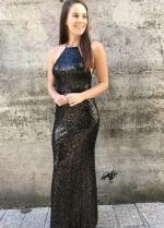 Halter Straps Sequined Black Long Formal Dresses Prom