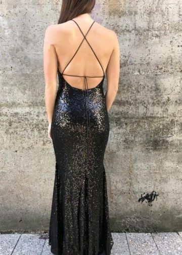 Halter Straps Sequined Black Long Formal Dresses Prom