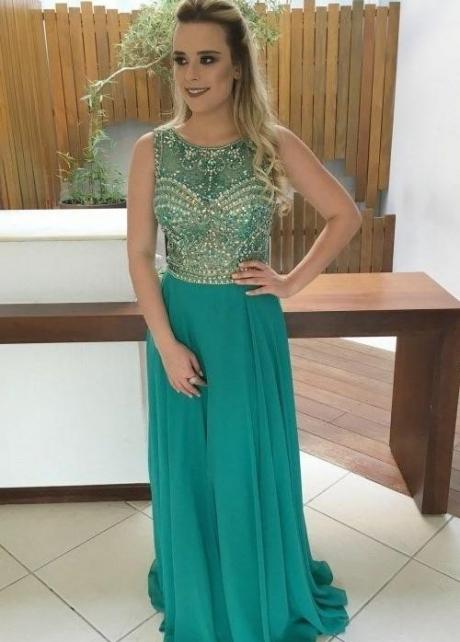 Hunter Green Chiffon Evening Dresses Rhinestones Crystals Bodice