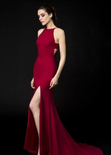 Halter Neckline Burgundy Evening Dresses Side Slit