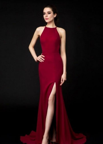 Halter Neckline Burgundy Evening Dresses Side Slit