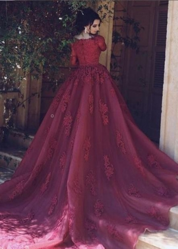 Half Sleeves Lace Evening Dress with Appliques Chapel Train