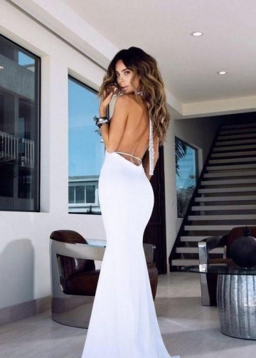 Halter White Spandex Prom Dress with Open Back