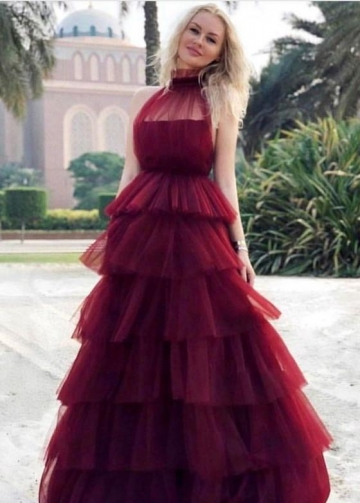 High Neck Burgundy Tulle Evening Gown with Tiered Skirt