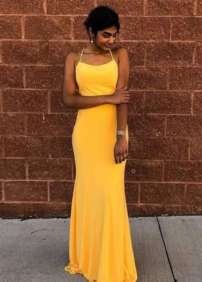 Halter Neckline Yellow Prom Dress with Lace-up Backless