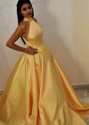 High Neck Yellow Prom Gown with Satin Full Skirt