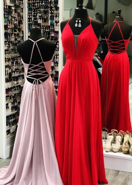Halter Chiffon Long Prom Dresses with Lace-up Back
