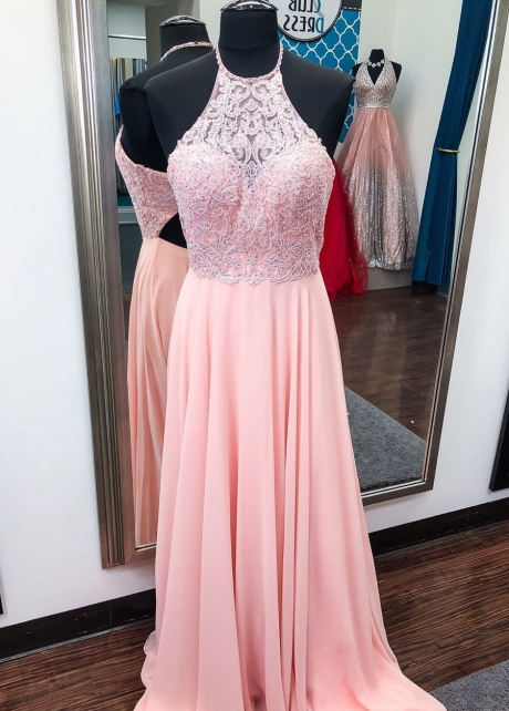 Halter Pink Prom Chiffon Dresses with Beaded Lace Bodice