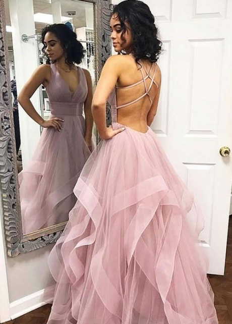 Horsehair Trim Mauve Prom Gown with V-neckline