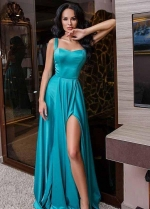 Hunter Long Evening Dresses with Double Straps