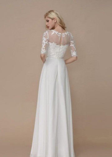 Half Sleeves Lace Beach Bridal Dress with Chiffon Skirt