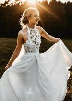 Halter Lace Beach Wedding Dress with Chiffon Skirt
