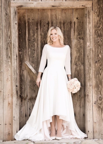 High Low Casual Wedding Dresses with 3/4 Sleeves