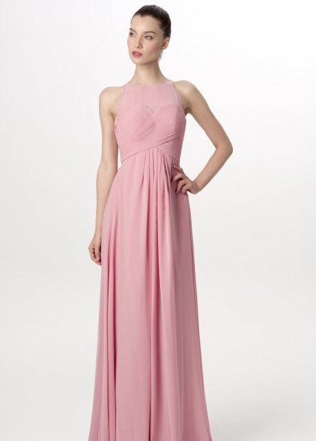 Illusion Neckline Long Chiffon English Rose Bridesmaid Dresses