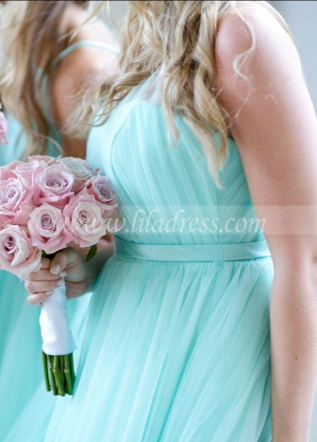Illusion Halter Tulle Turquoise Bridesmaid Dresses for Beach Weddings