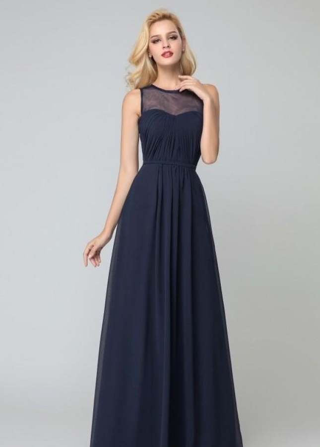 Illusion Neckline Navy Bridesmaid Long Party Dress