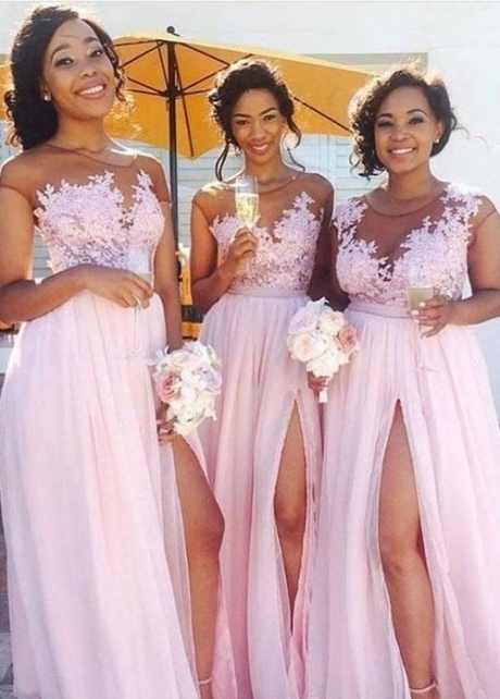 Illusion Lace Chiffon Pink Bridesmaid Dresses Nignia