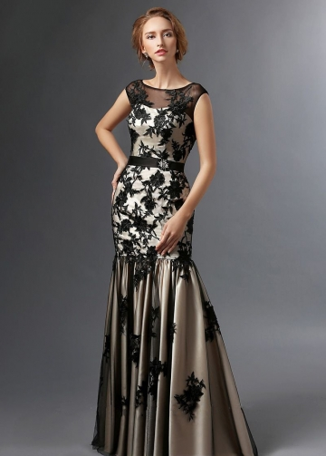 Illusion Boat Neck Black Floral Lace Mother of the Brides Dresses Cap Sleeves