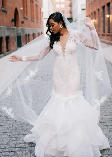 Illusion Lace Bateau Neck Ruffles Mermaid Wedding Dresses Long Sleeves