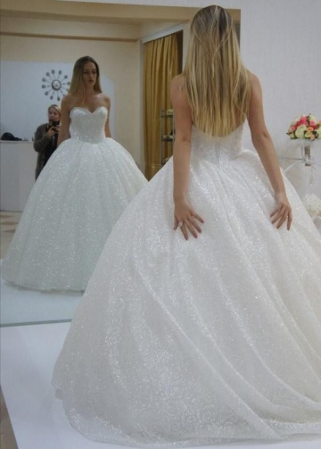Ivory Sequined Wedding Dress Ball Gown with Corset Back