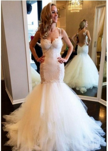 Illusion Back Mermaid Wedding Dresses with Lace Bodice