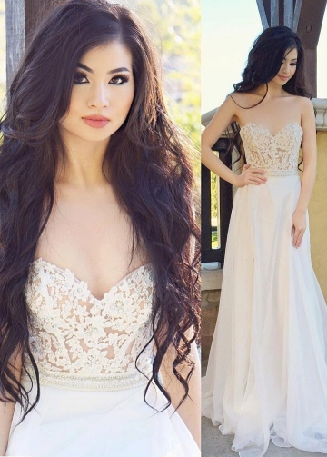Illusion Lace Sweetheart Backless Ivory Prom Dresses Wedding