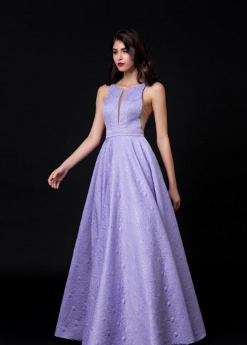 Illusion Insert Lavender Lace Evening Dress Backless