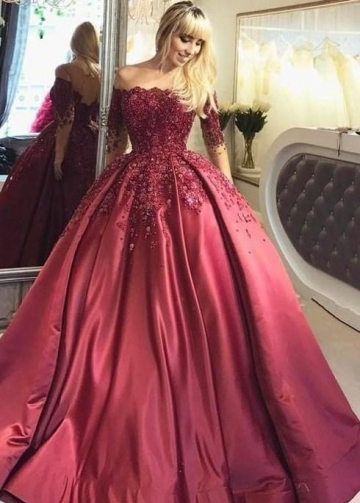 Illusion Long-Sleeve Burgundy Evening Ball Gown Beaded Skirt
