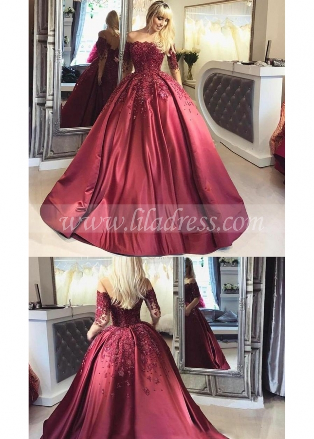 Illusion Long-Sleeve Burgundy Evening Ball Gown Beaded Skirt