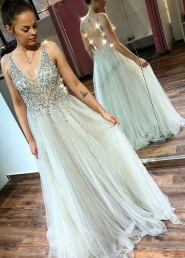 Illusion Rhinestones Bodice Prom Gown with Tulle Skirt