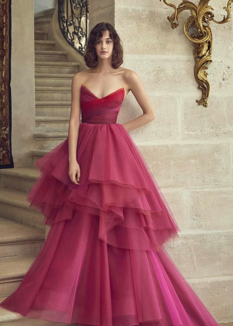 Irregular Tulle Skirt Prom Gown with Gradient Sweetheart Bodice