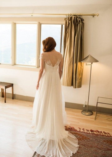 Illusion Lace Cap Sleeves Chiffon Rustic Wedding Dress