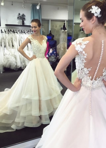Illusion Neckline Lace Cap Sleeves Bridal Dresses with Tiered Skirt