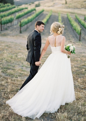 Illusion Neckline Simple Boho Wedding Gowns with Tulle Skirt