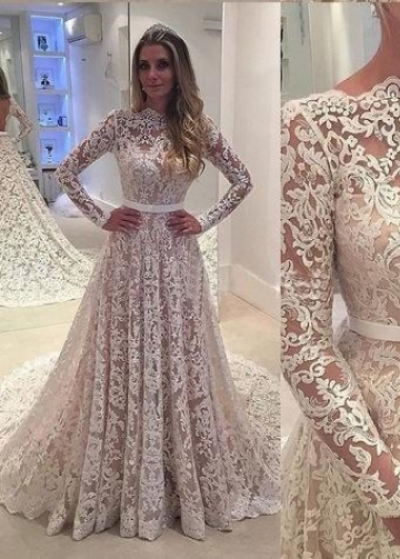 Illusion Neckline Full Lace Wedding Dresses Long Sleeves