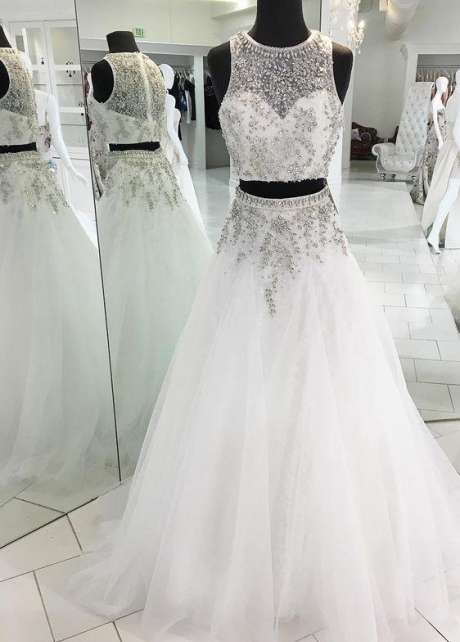 Illusion Rhinestones Two-piece Wedding Dresses Tulle Skirt