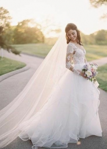 Illusion Neckline Tulle Wedding Dress with Lace Sleeves