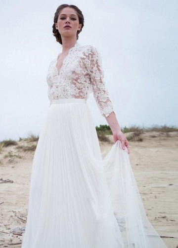 Illusion Lace Sleeves Boho Wedding Gown with Tulle Skirt