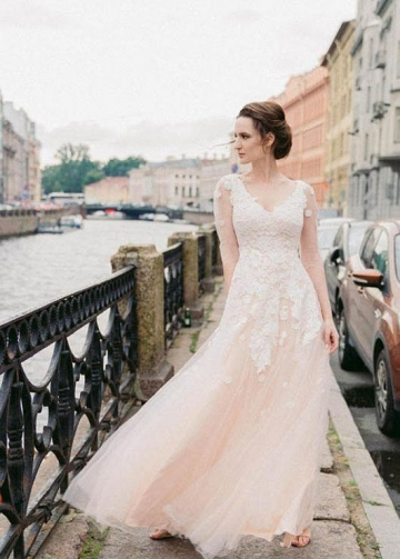 Illusion Long-sleeves Lace Wedding Gown with Champagne Tulle Skirt