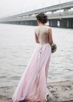 Ivory Lace Beach Wedding Dress with Pink Tulle Skirt
