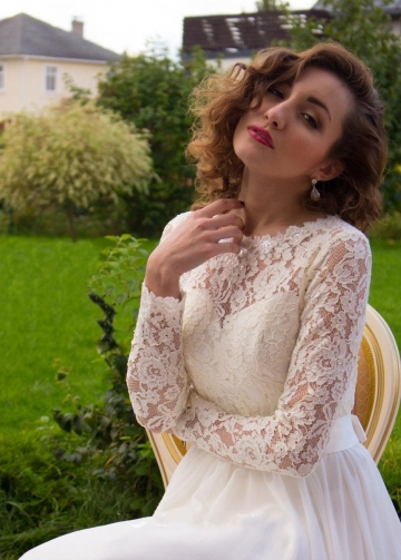 Illusion Lace Long Sleeves Wedding Dress with Chiffon Skirt