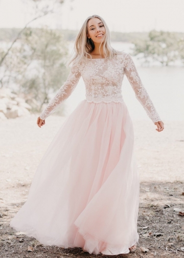 Ivory Lace Long-sleeved Wedding Gown Light Pink Tulle Skirt