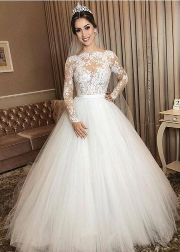 Ivory Tulle Wedding Gown Long Sleeves with Sheer Lace Bodice