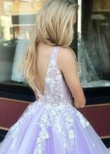 Ivory Lavender Tulle Wedding Gown with Floral Lace Bodice