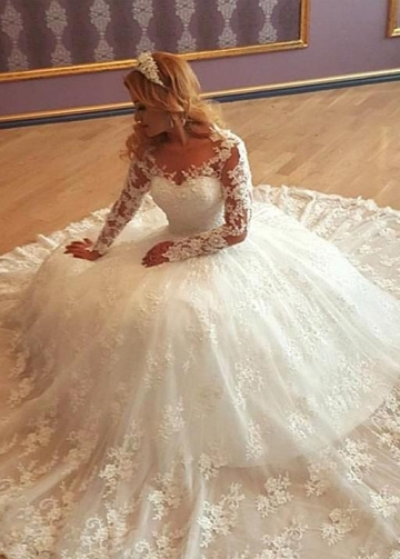 Illusion Lace Long Sleeves Wedding Gown vestido de boda