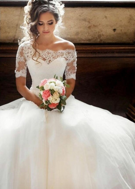Illusion Off-the-shoulder Princess Wedding Dress with Sleeves