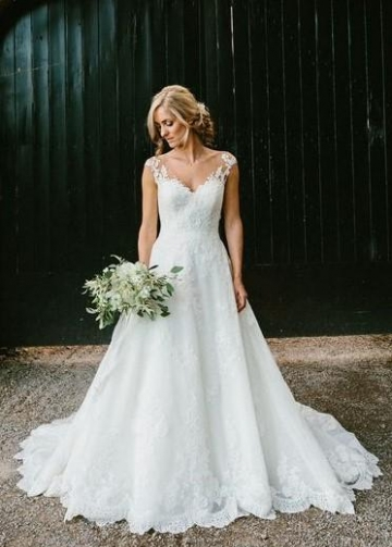 Illusion Lace V-neckline Wedding Lace Dresses Cap Sleeves