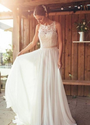 Ivory Beach Wedding Dress Lace Chiffon Skirt vestido de novia de playa