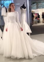 Jewel Neck Modest Wedding Gown with Lace Bodice