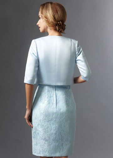 Knee Length Light Blue Lace Bride Mother Dress with Jacket